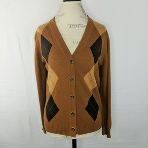 Vintage Escada Brown Argyle Cashmere Cardigan